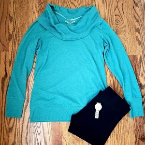 Teal/blue cowl neck sweater